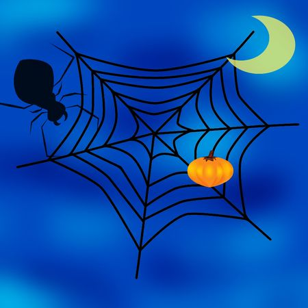 cobwebby: spider web, moon and pumpkin
