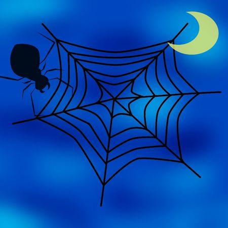 springe: spider web, moon