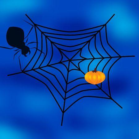 springe: spider web,  and pumpkin