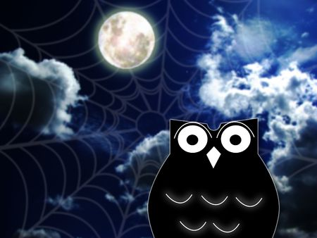 cobwebby: owl and spider web- halloween concept