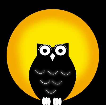 owl and moon Stock Photo - 7986266