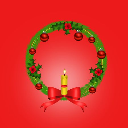 Christmas wreath with red bow  photo
