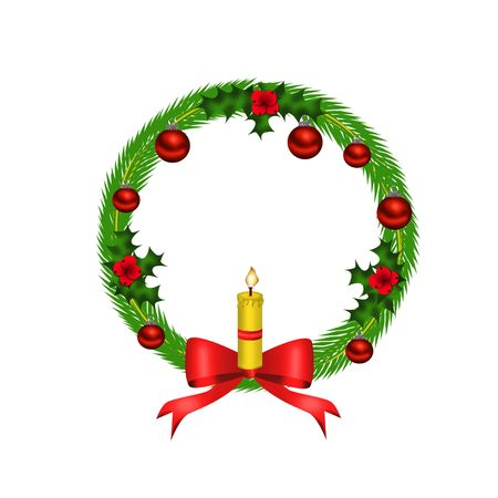 Christmas wreath with red bow Stock Photo - 8056356