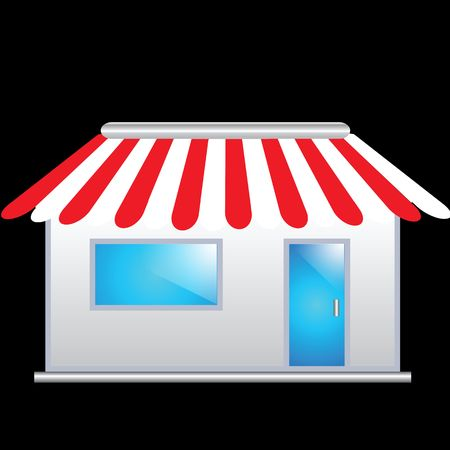 convenience: Cute shop icon with red awnings