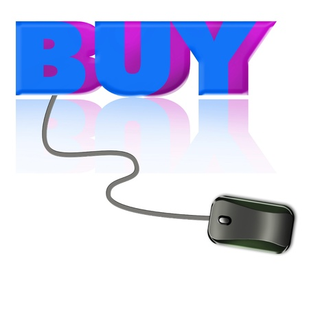 the word buy connected to a computer mouse Stock Photo - 8904132