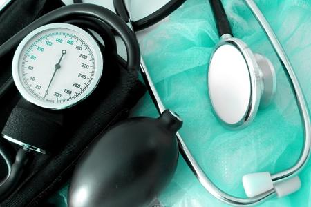 medical set on blue background