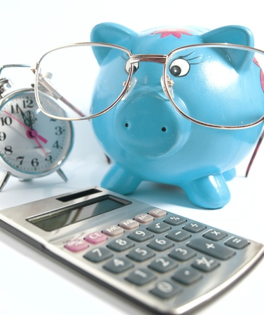 taxes budgeting: blue piggy bank
