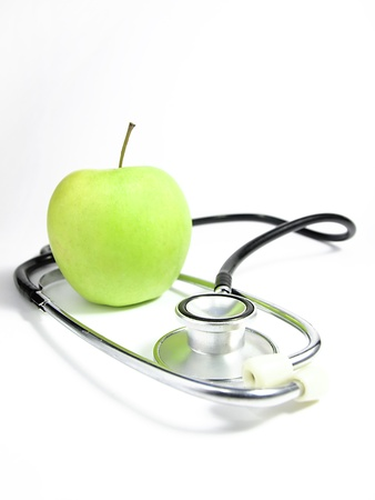 red stethoscope: stethoscope and  apple