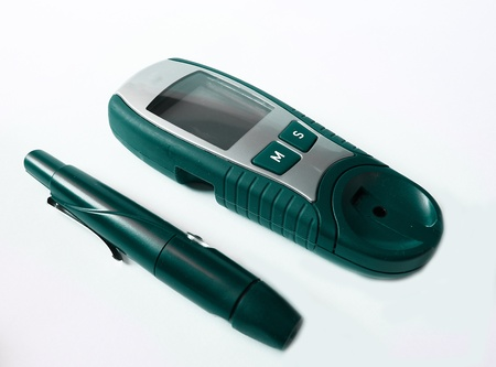 hypoglycemic: Device for measuring blood sugar level  Stock Photo