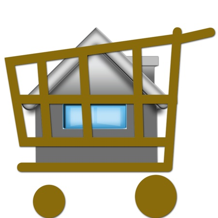 shopping cart and house Stock Photo - 10923356
