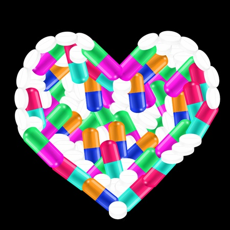 heart made with pills  photo