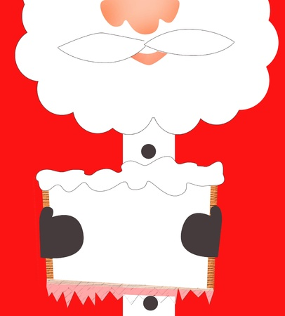 st nick: Santa Clause holding a wooden board with empty space for text