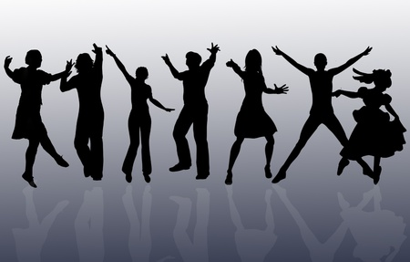 flashy: background with people dancing in night-club, and glitters Stock Photo