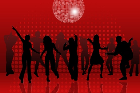 background with people dancing in night-club, disco-ball and glitters  photo