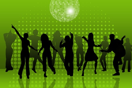night life: background with people dancing in night-club, disco-ball and glitters