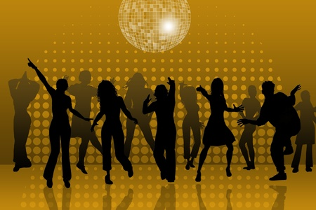discotheque: background with people dancing in night-club, disco-ball and glitters