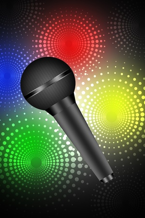 Microphone isolated on disco background  photo