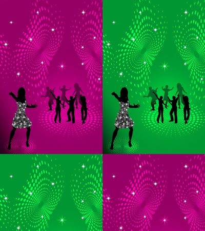 discoball: background with people dancing in night-club, disco-ball and glitters