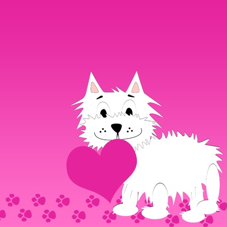 Love background with very cute puppy holding a heart  photo