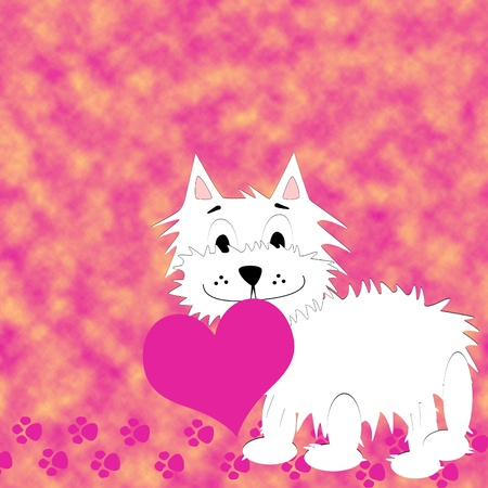 irresistible: Love background with very cute puppy holding a heart