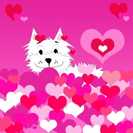 Amour de fond avec chiot très mignon tenant un coeur