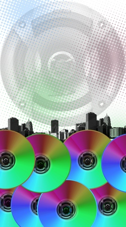 cd r: music is all around  Stock Photo