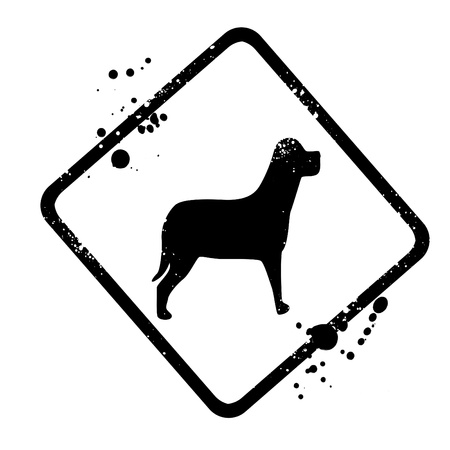 bowing head: silhouette of the dog sign Stock Photo