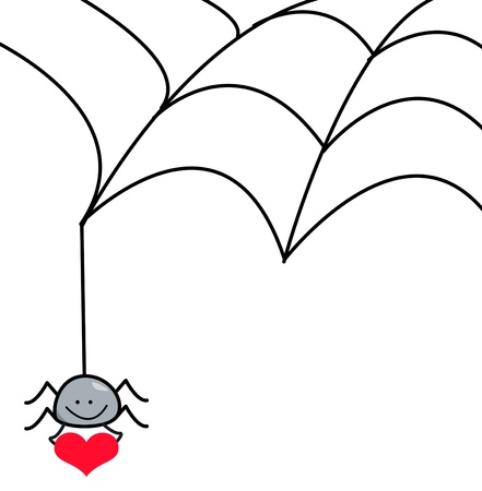 spider cartoon: spider web and heart