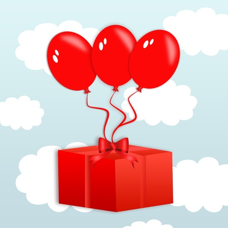 red flying balloons lifting a red present isolated on white Stock Photo - 11996964