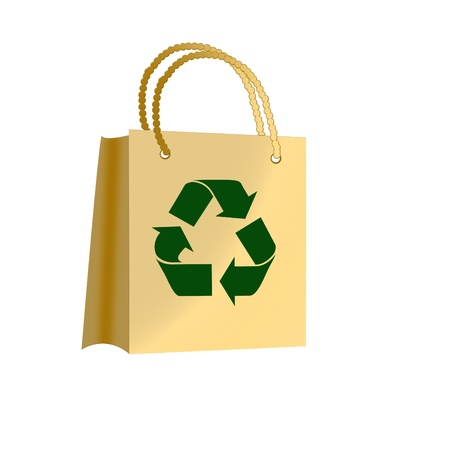 brown paper bags with recycle symbol. Textured effect.  photo