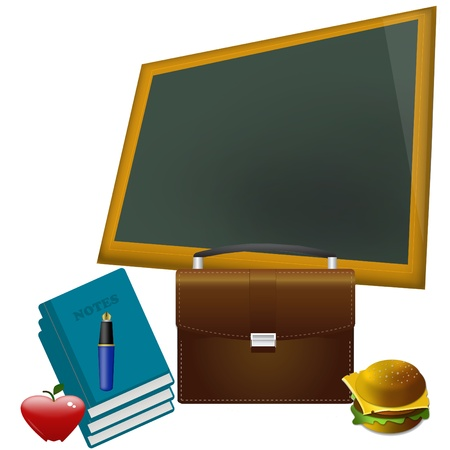 school concept - red heart shape apple on textbook against blackboard in class.  photo