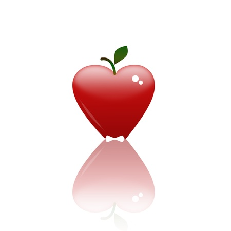 heart shape apple with reflection  photo
