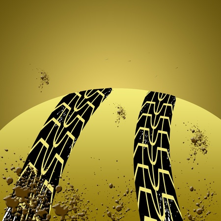 Black tire track banner Stock Photo - 11996943