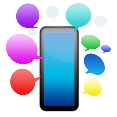 smart phone with speech bubbles  photo