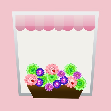 window with flowers shaped greeting card background Stock Photo - 11996934