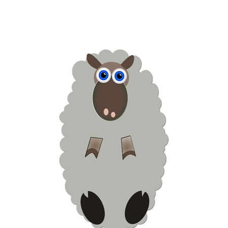 one of a kind: Cute interested sheep isolated on white  Stock Photo