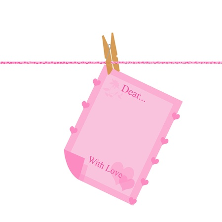 Love Letter hanging on the rope wit little hearts  photo