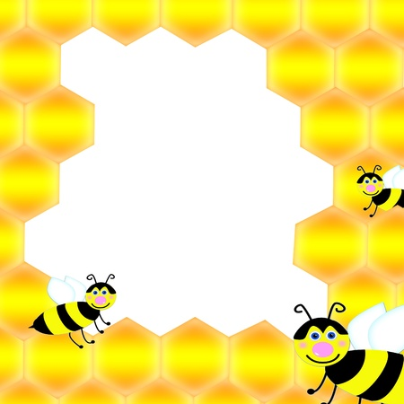 bee and honeycomb with sample for text  photo
