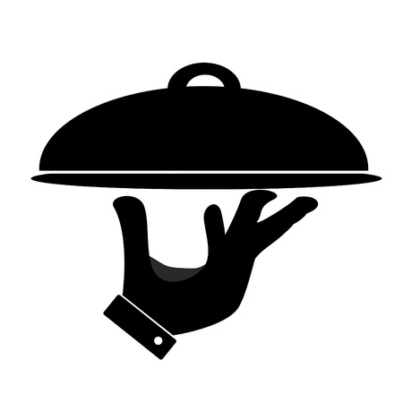lunch tray: Silhouette of hand holding serving tray  Stock Photo