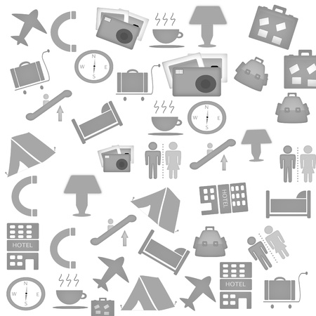 stylish icon set of tourism and traveling objects  photo