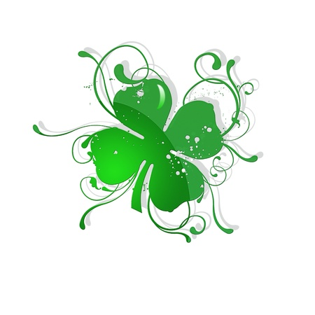 four objects: 4 leaf clover st patric day