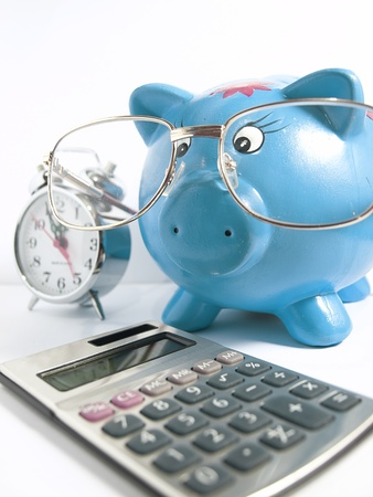 blue piggy bank  photo
