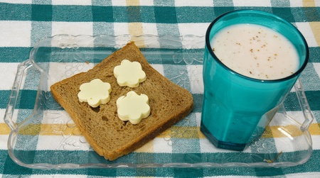 high calorie: chocolate milk and butter in flower shape