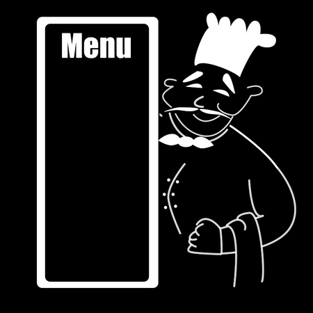 Cartoon chef holding blank manu Stock Photo