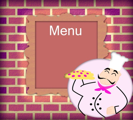 Cartoon chef holding pizza and blank manu on the brick wall photo