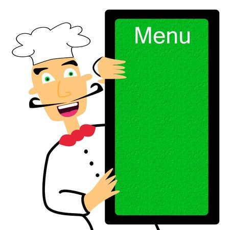 plato del buen comer: Cocinero de la historieta que sostiene manu blanco Foto de archivo