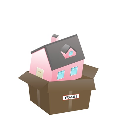 A New Home for sale or delivery in a clean  House Carton as  icon; a gift; real estate concepts photo