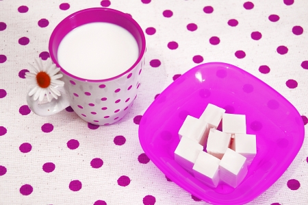 Fresh cottage cheese and milk in glass  photo