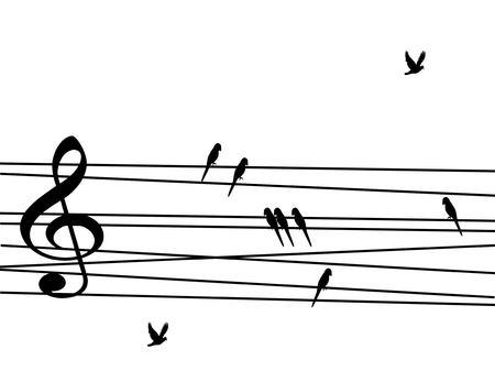 treble g clef: Singing birds looking like musical notes