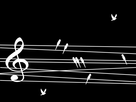 eight note: Singing birds looking like musical notes